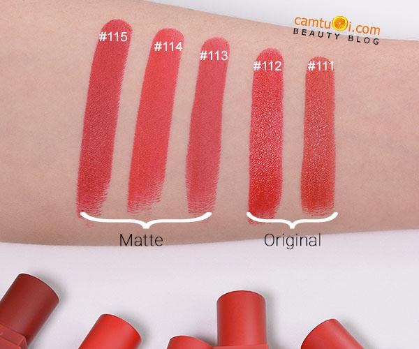 bảng màu son 3CE Red Recipe Mini Kit