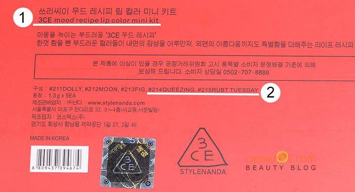 phân biệt son 3CE Red Recipe Mini Kit thật và giả