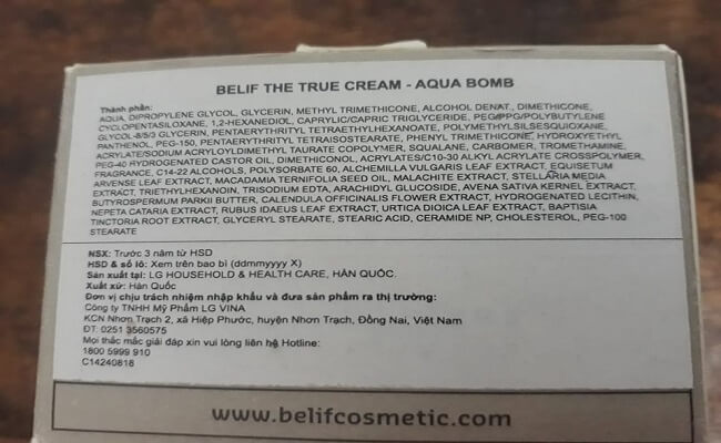 Review kem dưỡng ẩm Belif The True Cream Aqua Bomb
